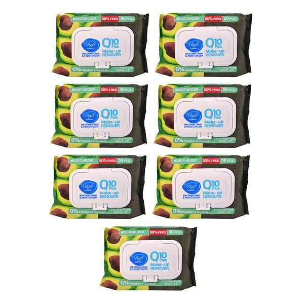 دستمال مرطوب پاک کننده آرایش دافی مدل Q10 moisturizer بسته 50 عددی مجموعه 7 عددی