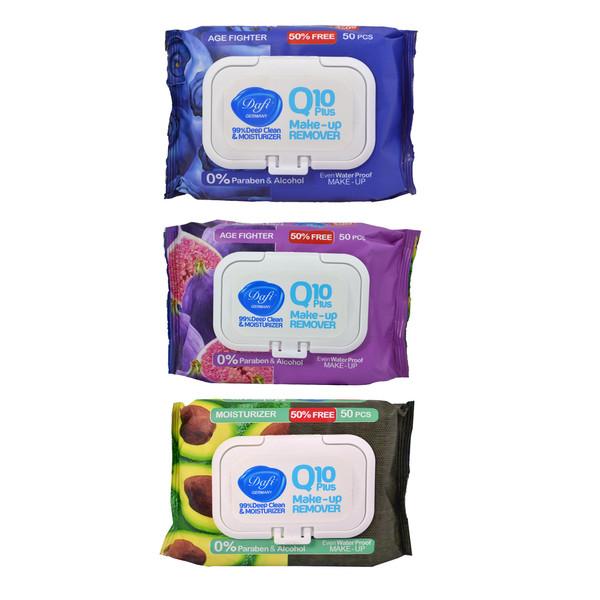 دستمال مرطوب پاک کننده آرایش دافی مدل Q10 fruit  بسته 50 عددی مجموعه 3 عددی