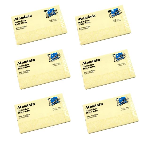کاغذ یادداشت چسب دار اینفو طرح ماندالا مدل 01-5655 M بسته 6 عددی