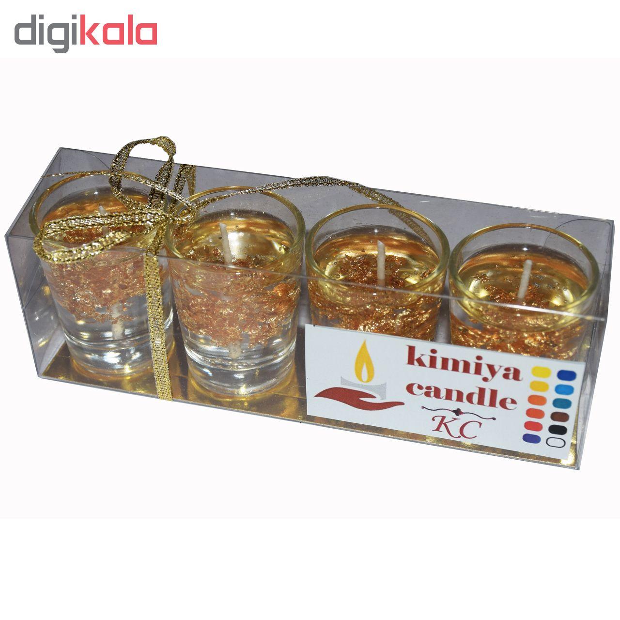 شمع کیمیا مدل کریستالی طلایی بسته 4 عددی
