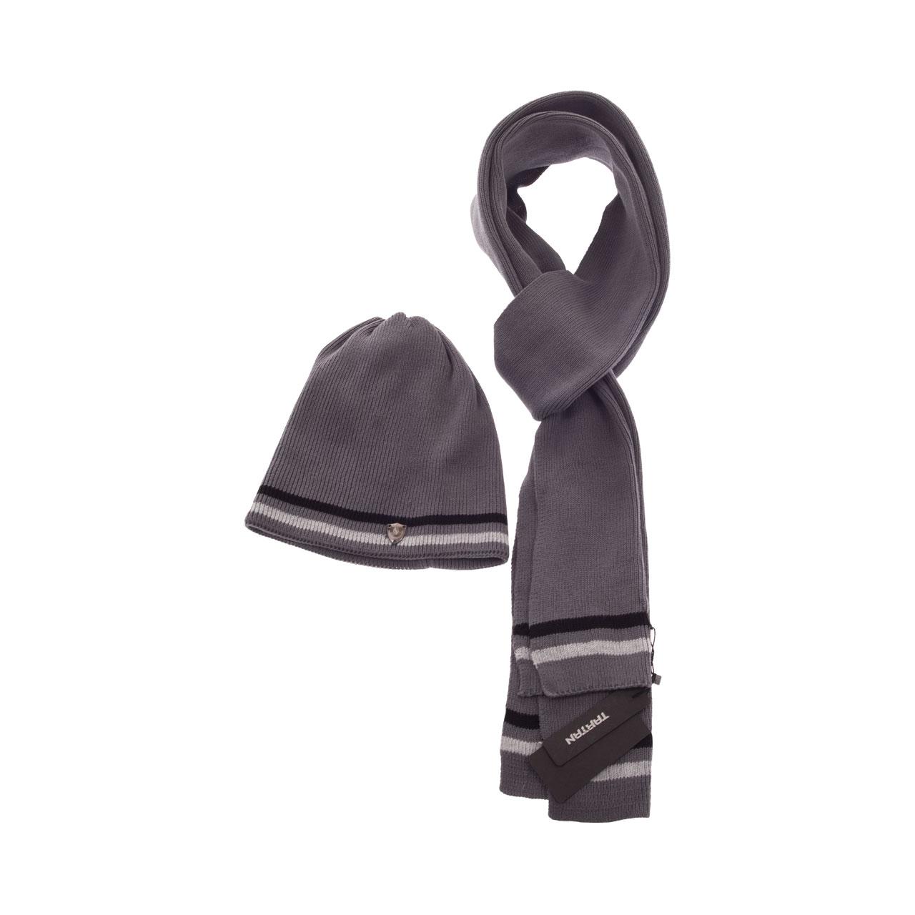 ست شال گردن و کلاه تارتن مدل 543 رنگ خاکستری