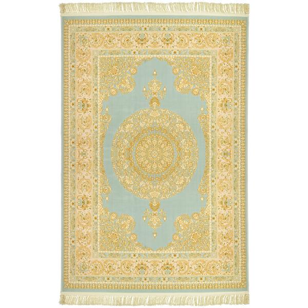 فرش ماشینی عرش طرح کسری زمینه آبی
