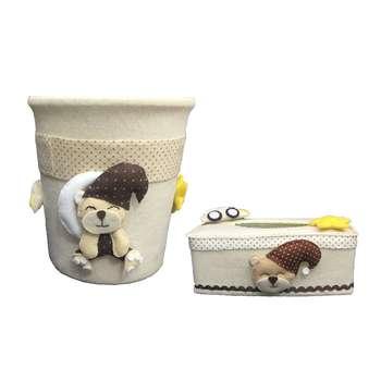 ست سطل و جادستمال کاغذی اتاق کودک طرح خرس تدی