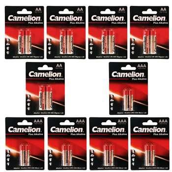 باتری قلمی و نیم قلمی کملیون مدل Plus Alkaline بسته 20 عددی