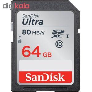 کارت حافظه microSDXC سن دیسک مدل Ultra UHS-I SDHC کلاس 10 استاندارد UHS-I U3 سرعت 80MBs ظرفیت 64 گ