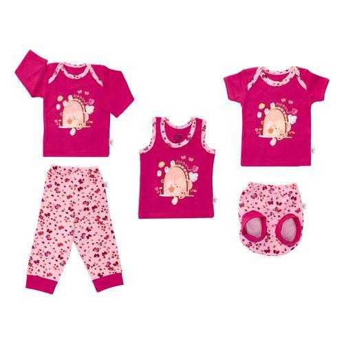 ست 5 تکه لباس نوزادی دخترانه آدمک طرح خرگوش و پروانه