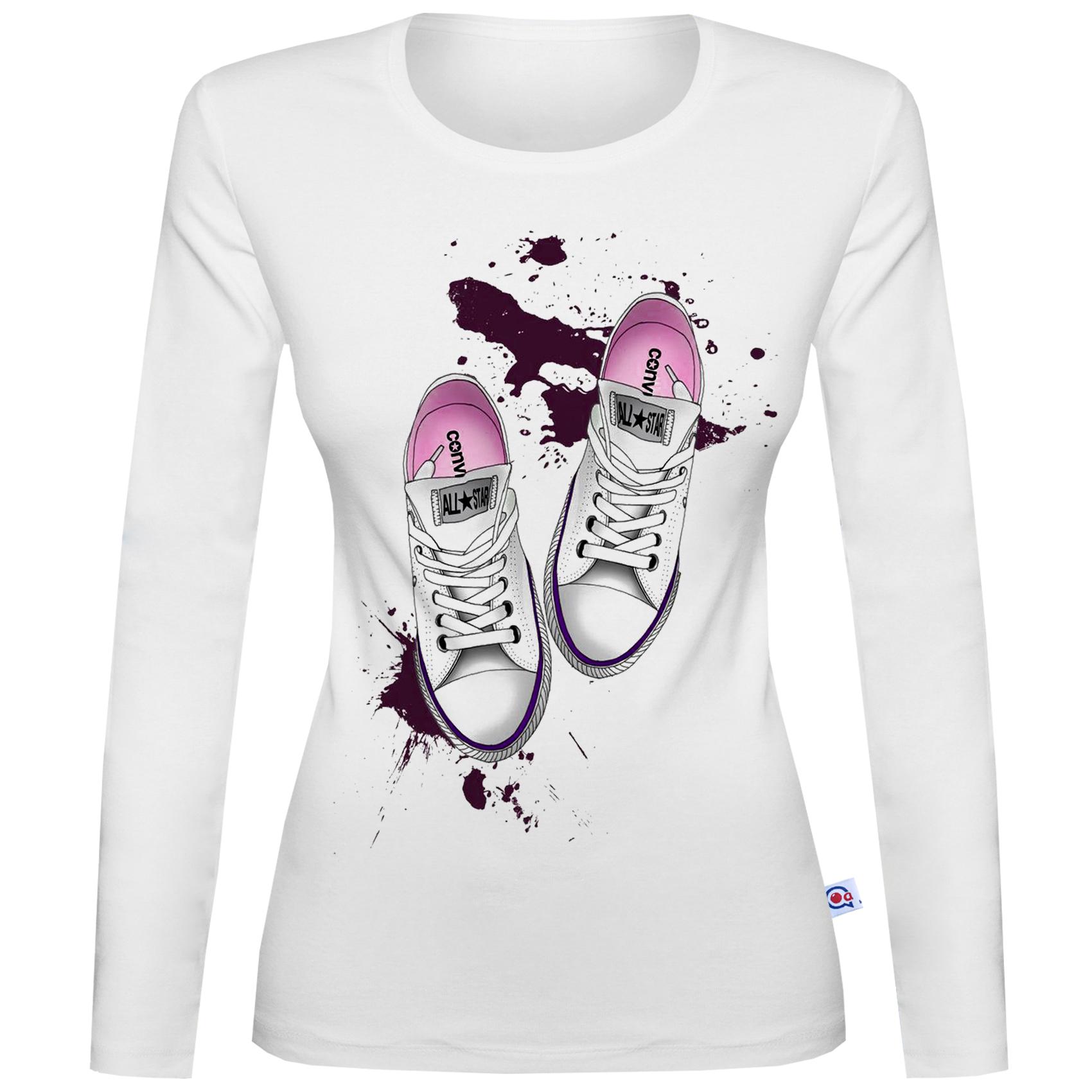 تی شرت  آستین بلند زنانه آکو طرح کتونی کد BS17
