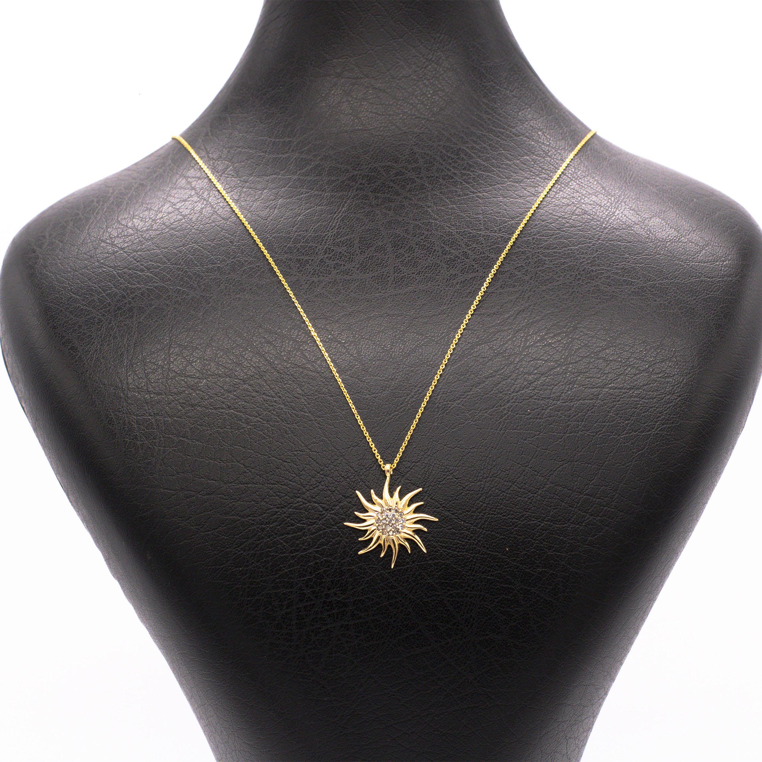 قیمت گردنبند طلا 18 عیار زنانه طرح خورشید کد G406