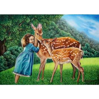 تابلو نقاشی رنگ روغن طرح آهوی ایرانی