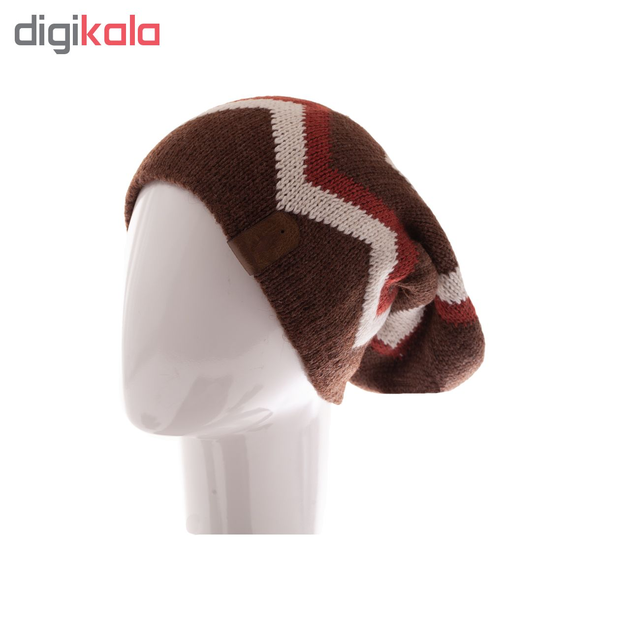ست کلاه شال گردن و دستکش  تارتن مدل 320 رنگ قهوه ای