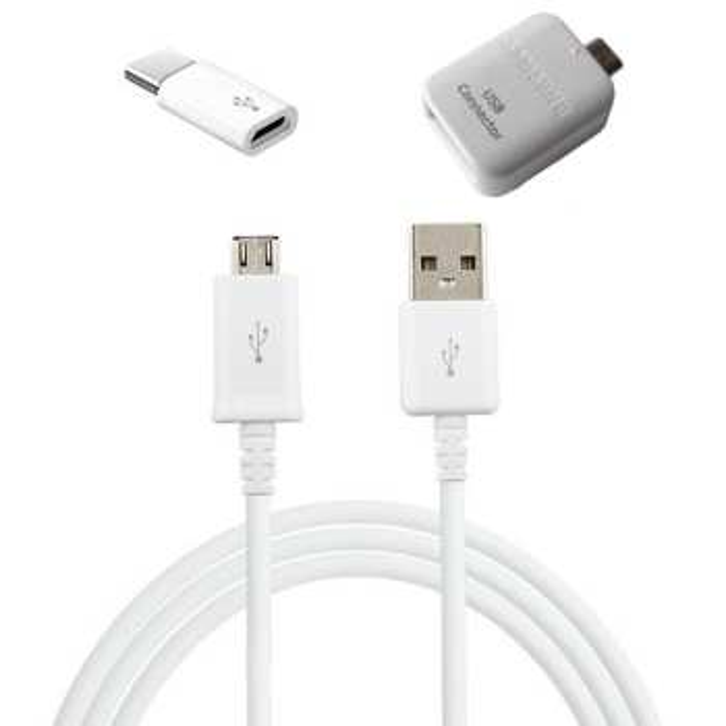 کابل تبدیل USB به microUSB مدل EP-DG925UWE طول 1.2 متر به همراه مبدل OTG microUSB و microUSB به USB-C