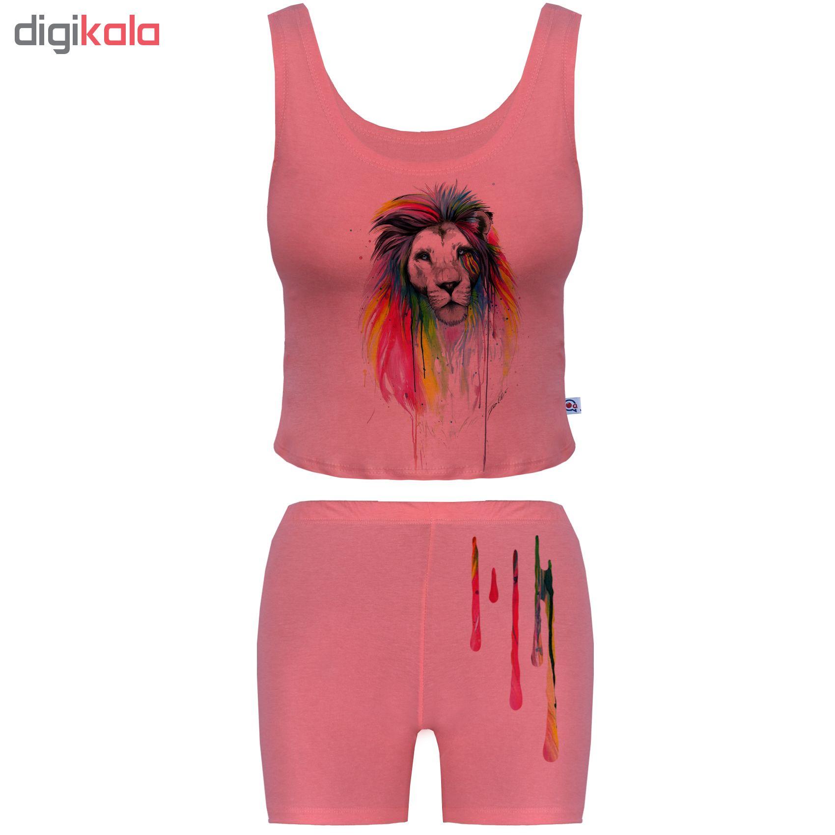 خرید                                      ست تاپ و شلوارک زنانه آکو طرح Lion کد NTg015