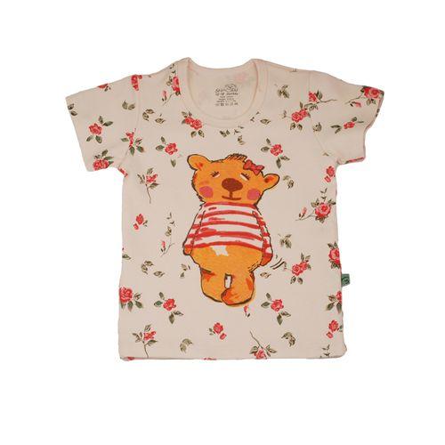 تی شرت آستین کوتاه دخترانه شابن طرح خرس دختر کد 2
