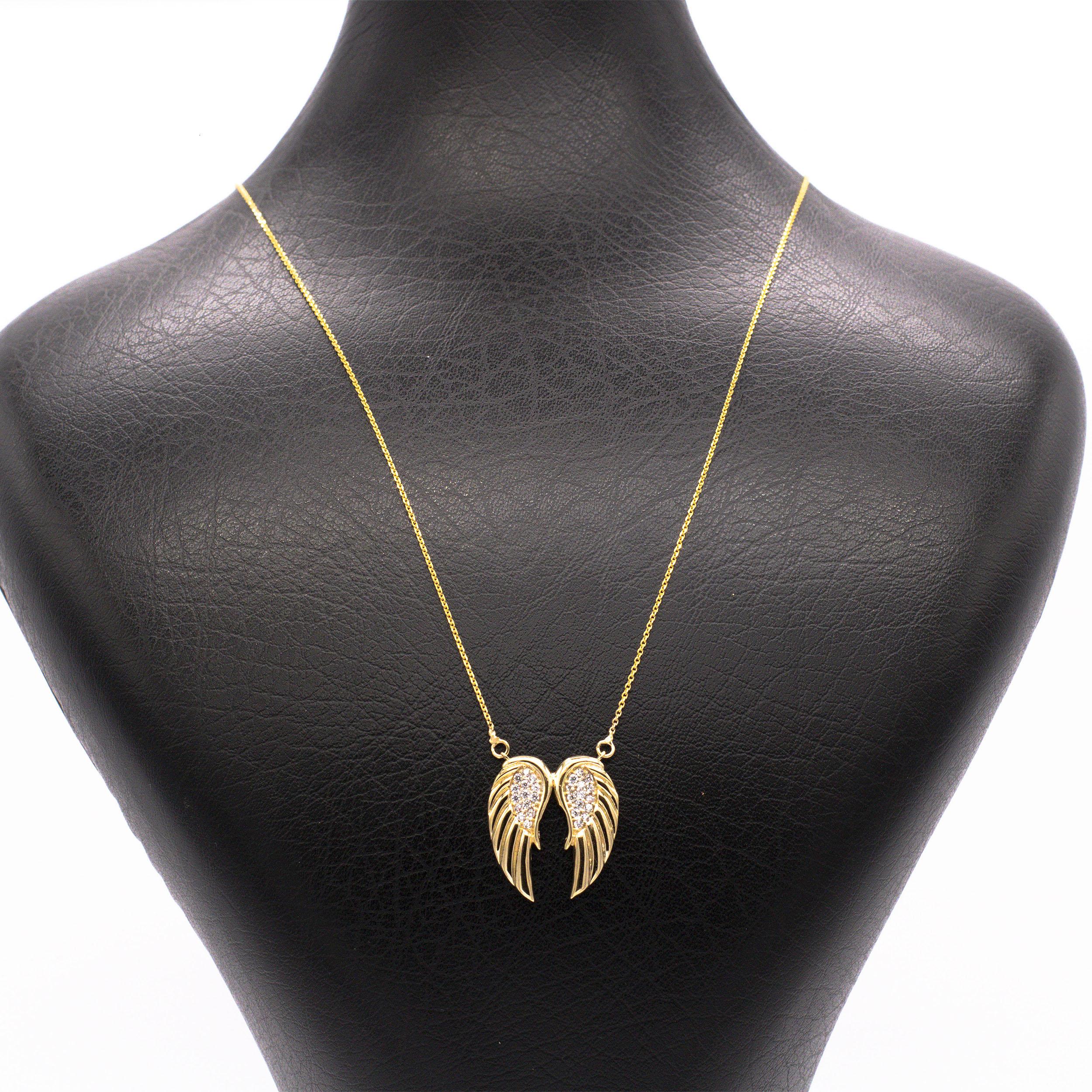 گردنبند طلا 18 عیار زنانه طرح بال فرشته کد G431