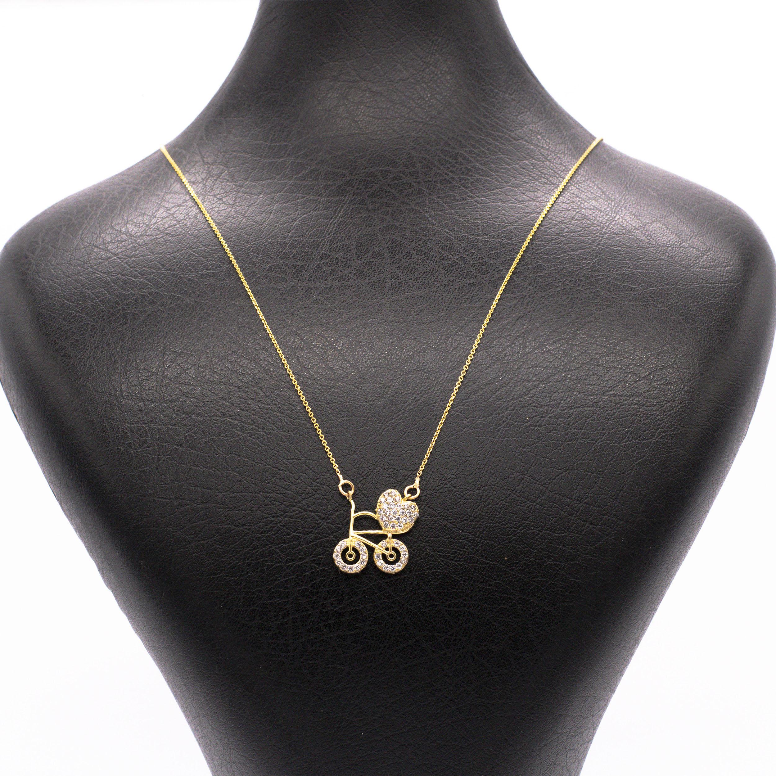 گردنبند طلا 18 عیار زنانه قلب دوچرخه سوار کد G447