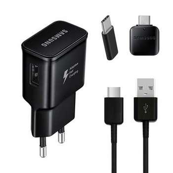 شارژر دیواری مدل EP-TA20EWE به همراه کابل تبدیل USB-C و مبدل USB-C و  USB-C OTG
