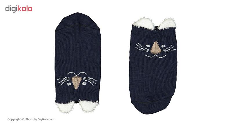 جوراب نوزادی طرح گربه رنگ سورمه ای