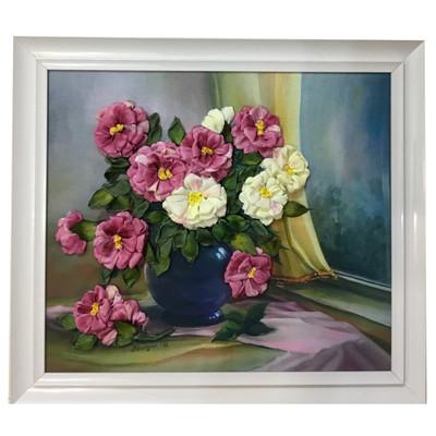 Photo of تابلو ربان دوزی طرح گلدان و پنجره مدل b1