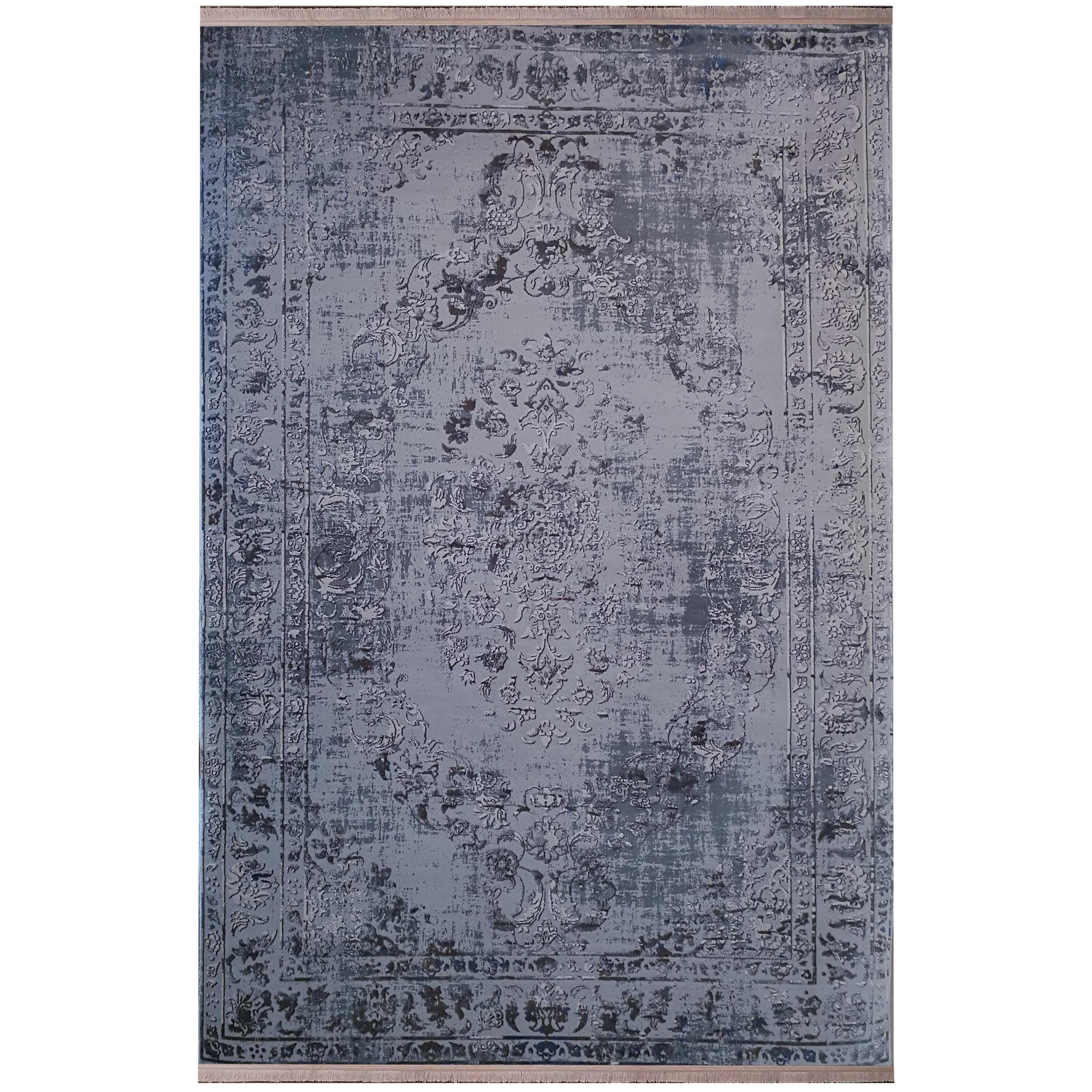 فرش ماشینی زمرد مشهد طرح پتینه کد TA105 زمینه طوسی