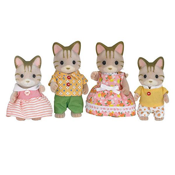 عروسک سیلوانیان فامیلیز طرح خانواده گربه خط دار کد 5180 بسته 4 عددی