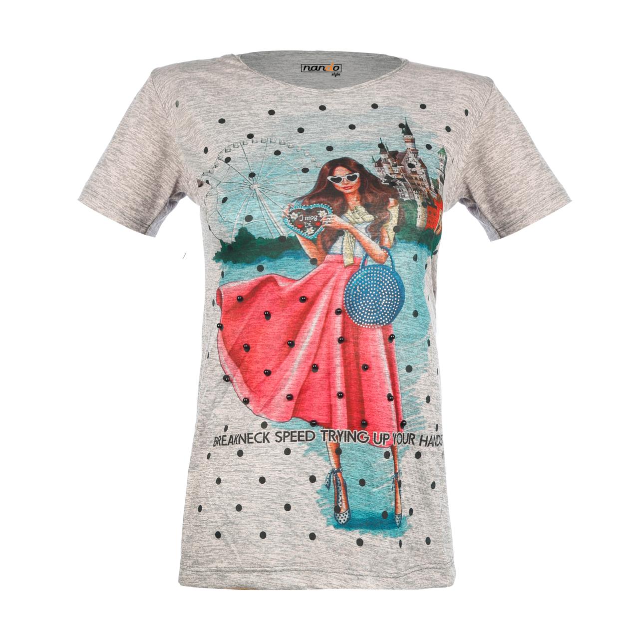 تی شرت زنانه ناندو استایل طرح دختر دامن مرواریدی کد NS40