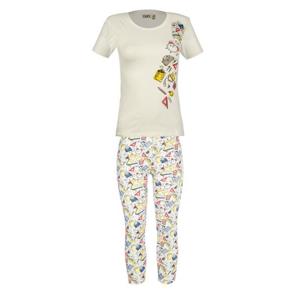 ست تی شرت و شلوارک زنانه ناندو استایل کد NS48