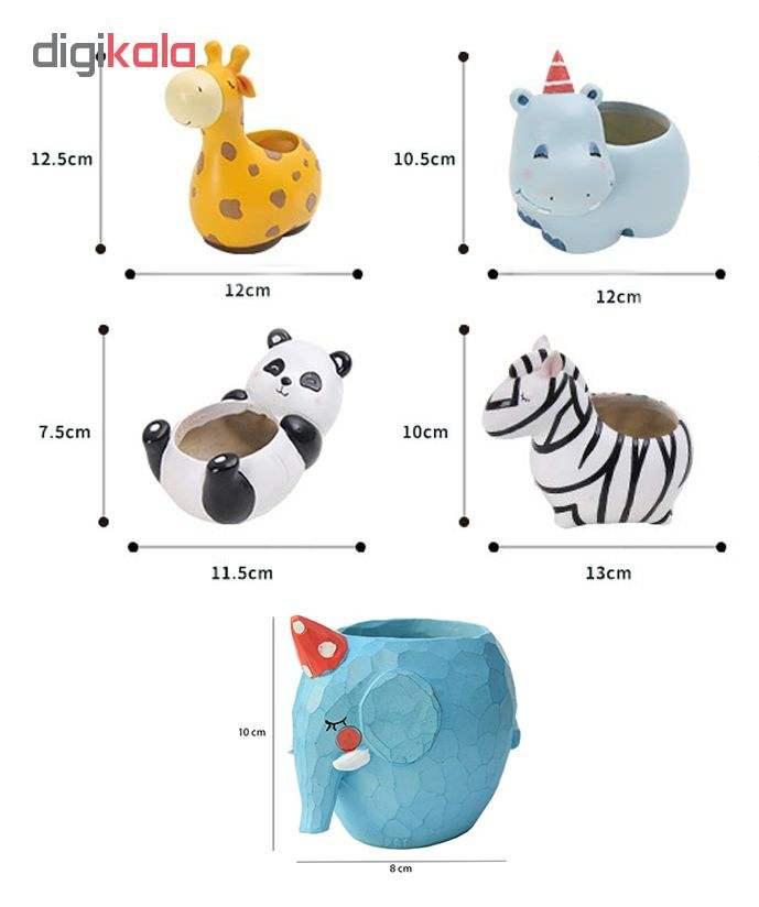 گلدان فانتزی طرح حیوانات مدل 01 مجموعه 5 عددی main 1 2