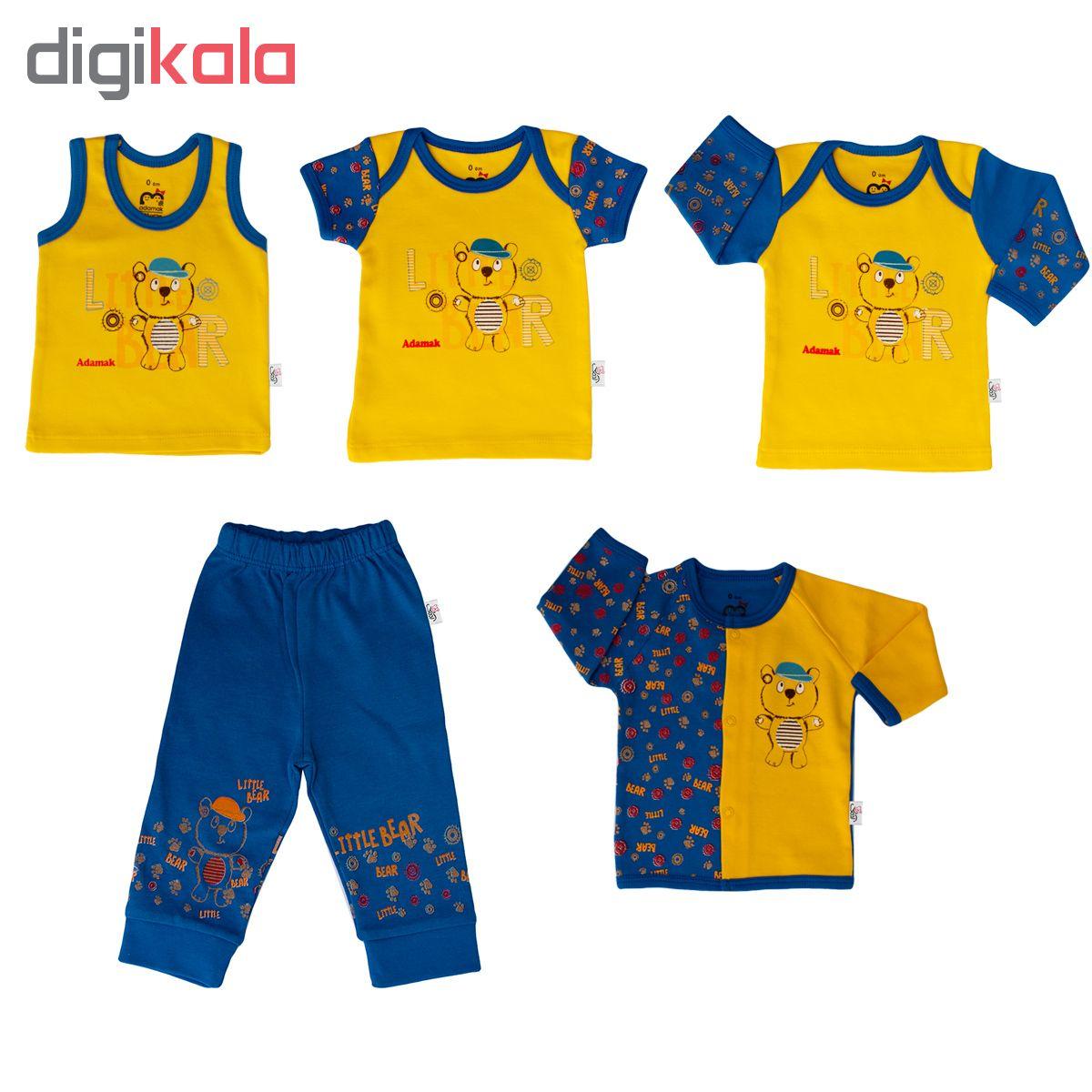 ست 5 تکه لباس نوزادی پسرانه آدمک طرح خرس کوچولو کد 003