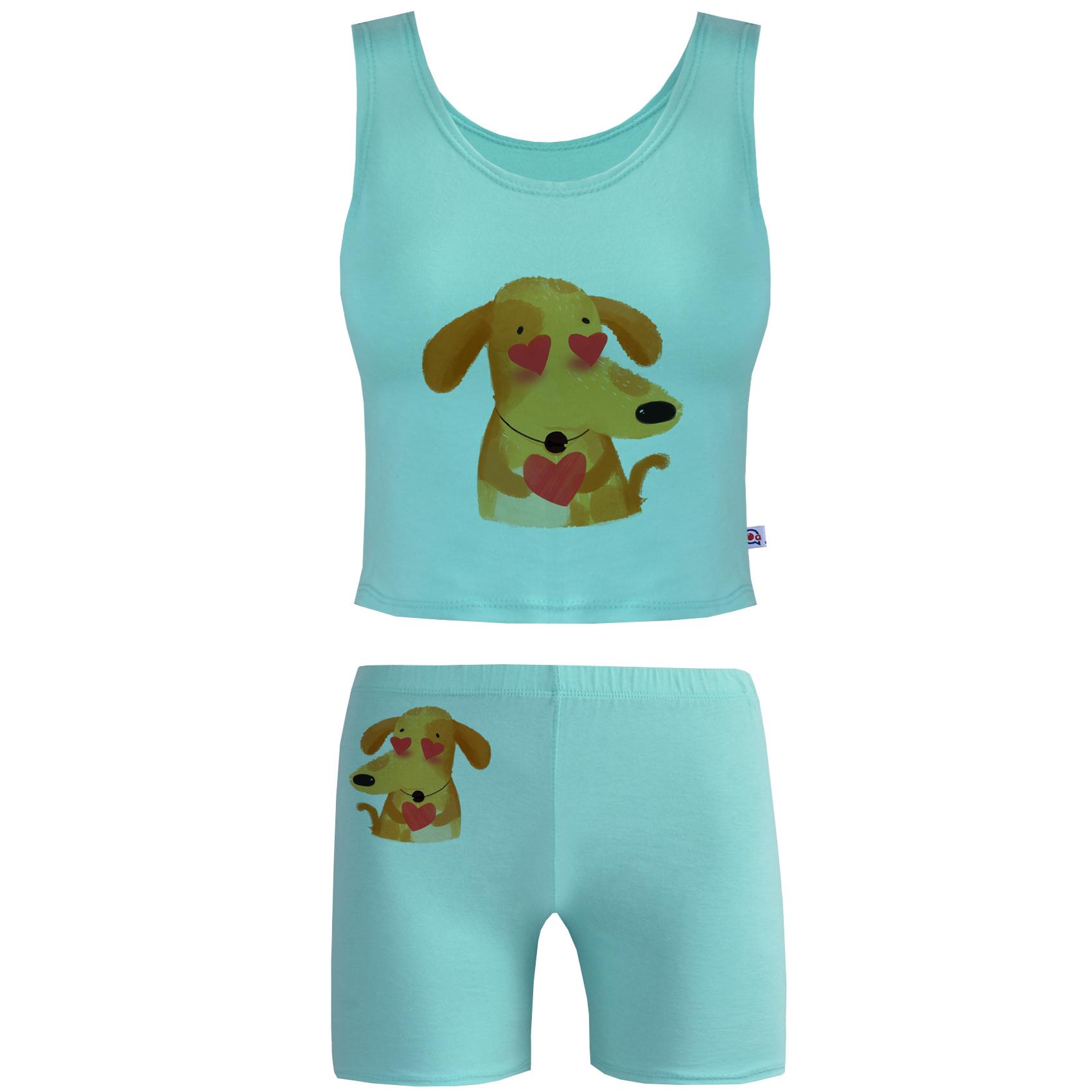 خرید                                      ست تاپ و شلوارک زنانه آکو طرح DOG کد BC102