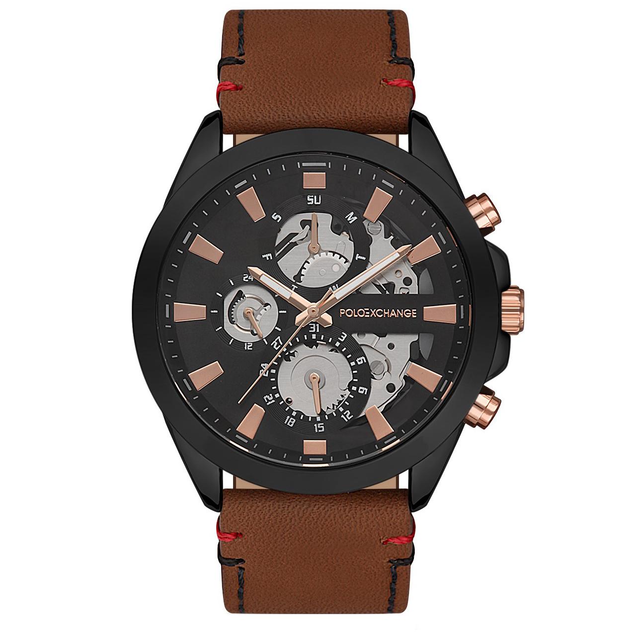 ساعت مچی عقربه ای مردانه پولو اکسچینج مدل PX0130D-02 4