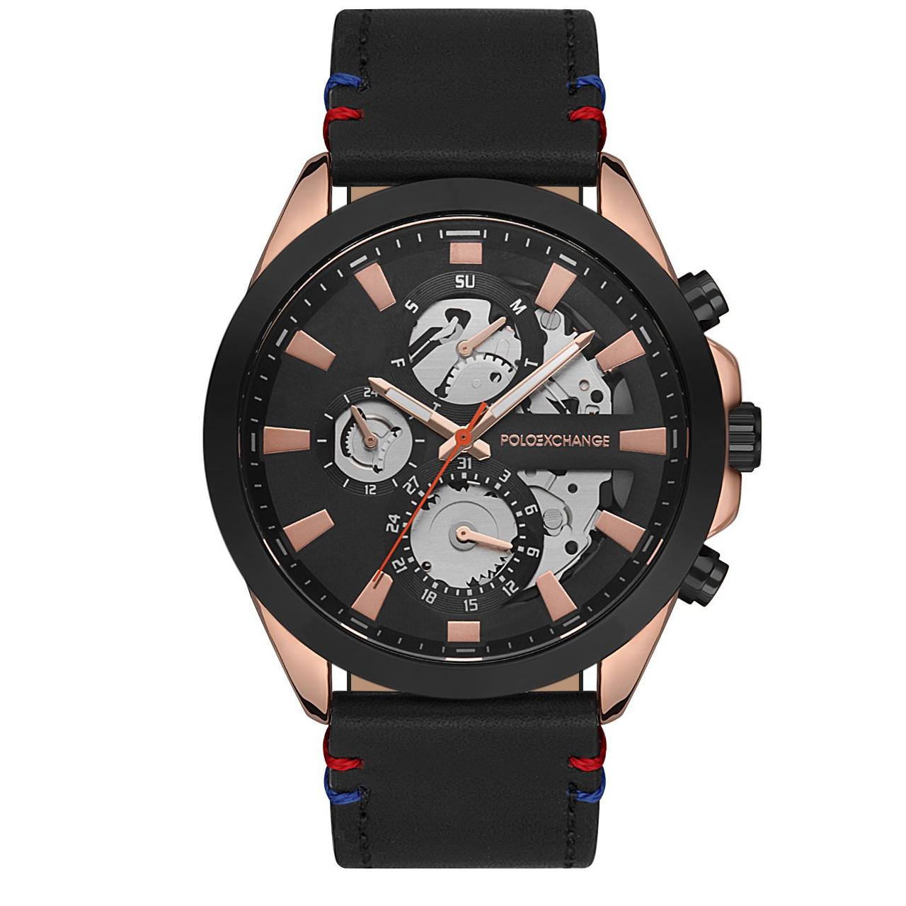 ساعت مچی عقربه ای مردانه پولو اکسچینج مدل PX0130D-01