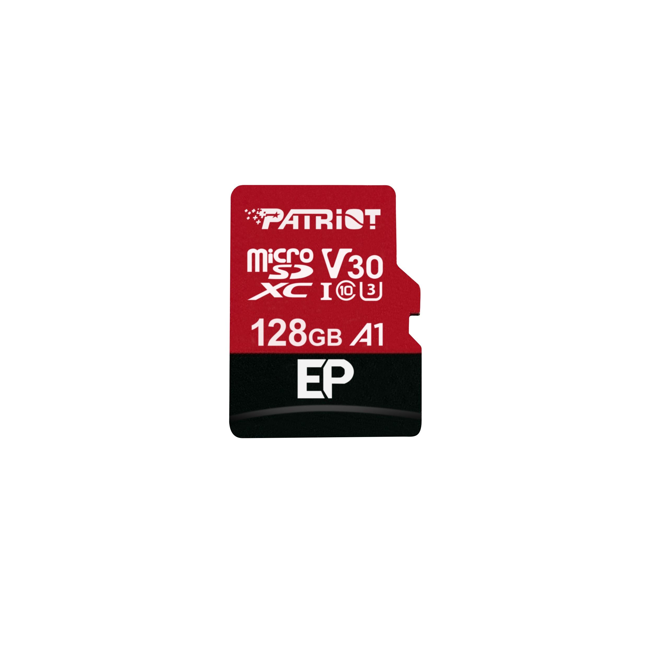 کارت حافظه microSDXC پتریوت مدل EP -V30 A1 ظرفیت 128 گیگابایت به همراه آداپتور
