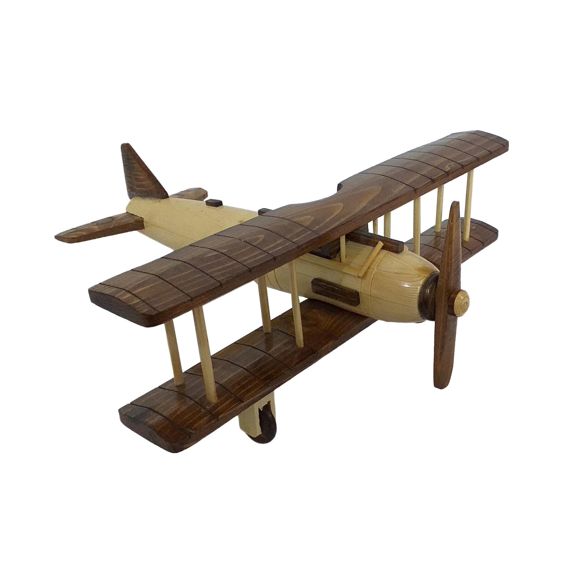 اسباب بازی چوبین هنر مدل هواپیمای دو بال کد 2110