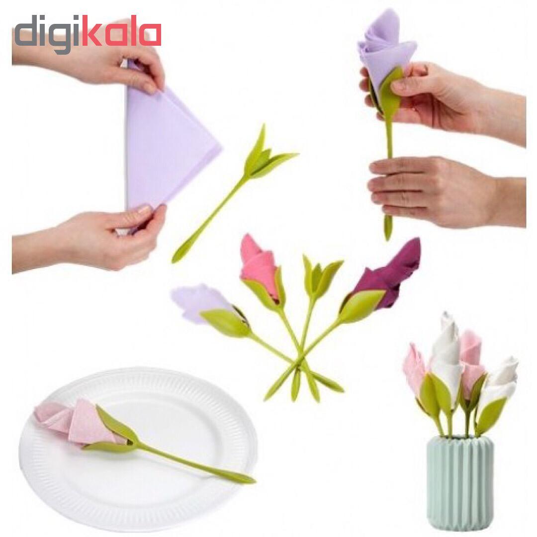 نگهدارنده دستمال طرح گل رز بسته 6 عددی
