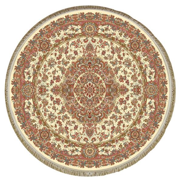 فرش ماشینی فرش ابریشمی کرامتیان مدل رویال زمینه کرم
