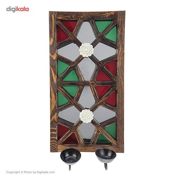 خرید                      جاشمعی دیواری گالری اسعدی مدل آینه دار طرح دو گل کد 66041