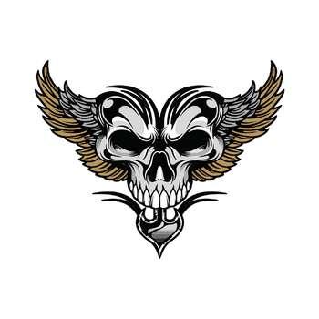 استیکر لپ تاپ طرح Skull Wings کد ۰۲