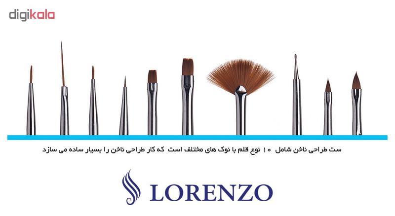 قلم موی طراحی ناخن لورنزو مدل N710 بسته 10 عددی