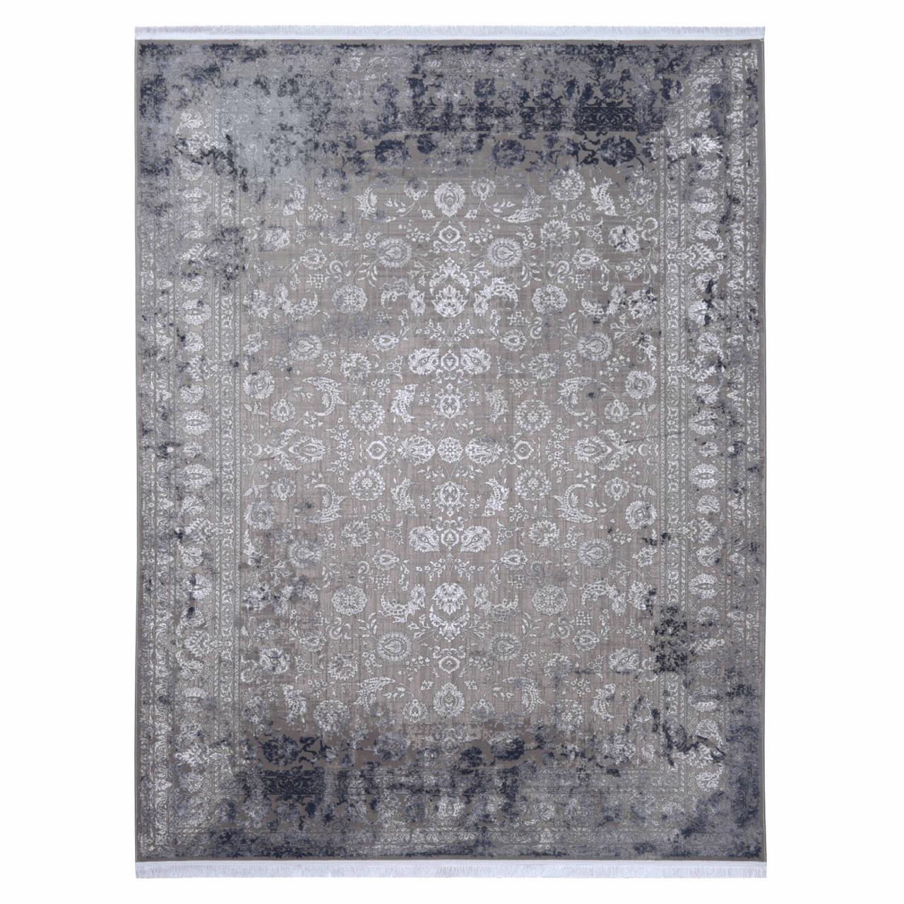 فرش ماشینی بهارا طرح وینتیج کد 12000 زمینه طوسی