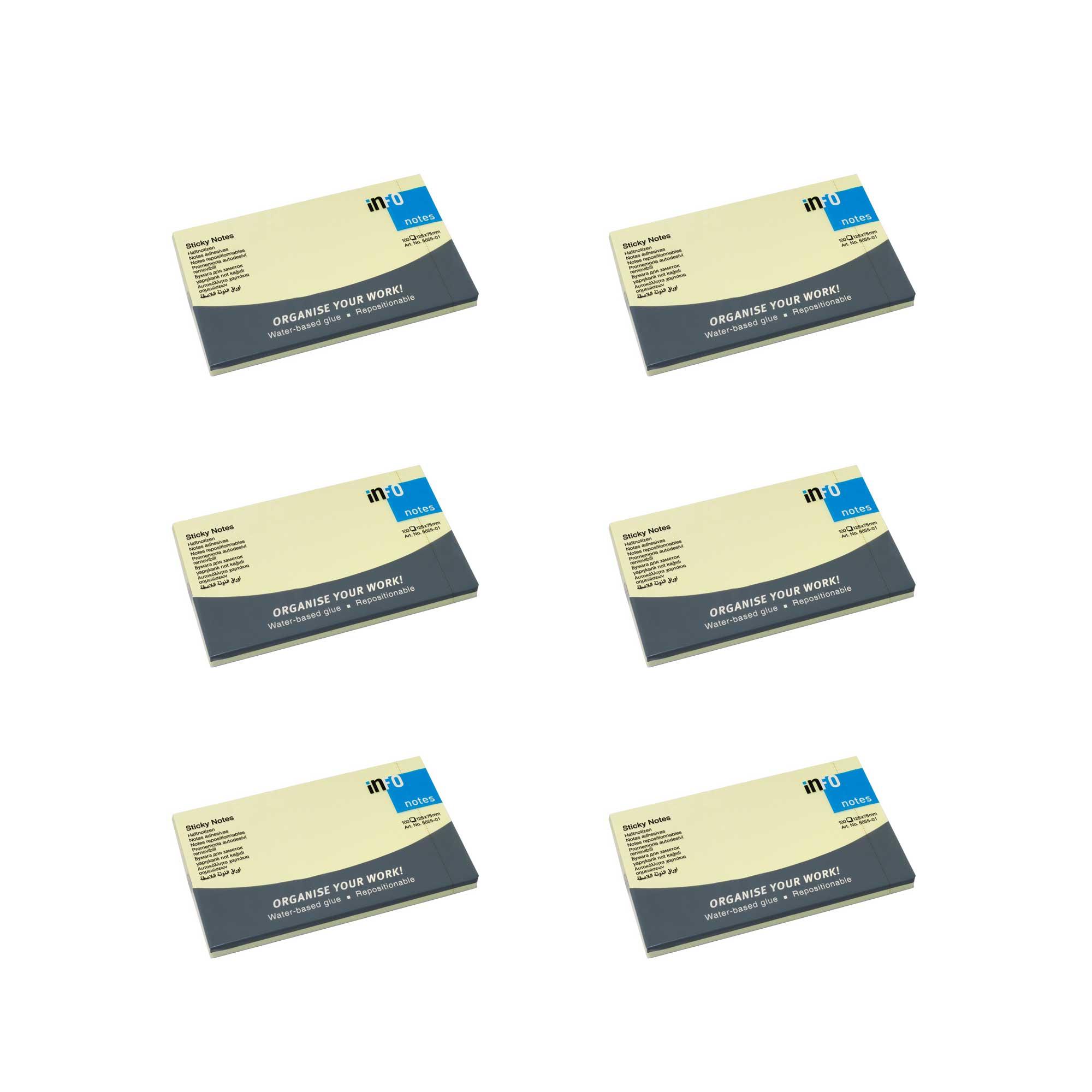 کاغذ یادداشت چسب دار اینفو مدل 01-5655 بسته 6 عددی
