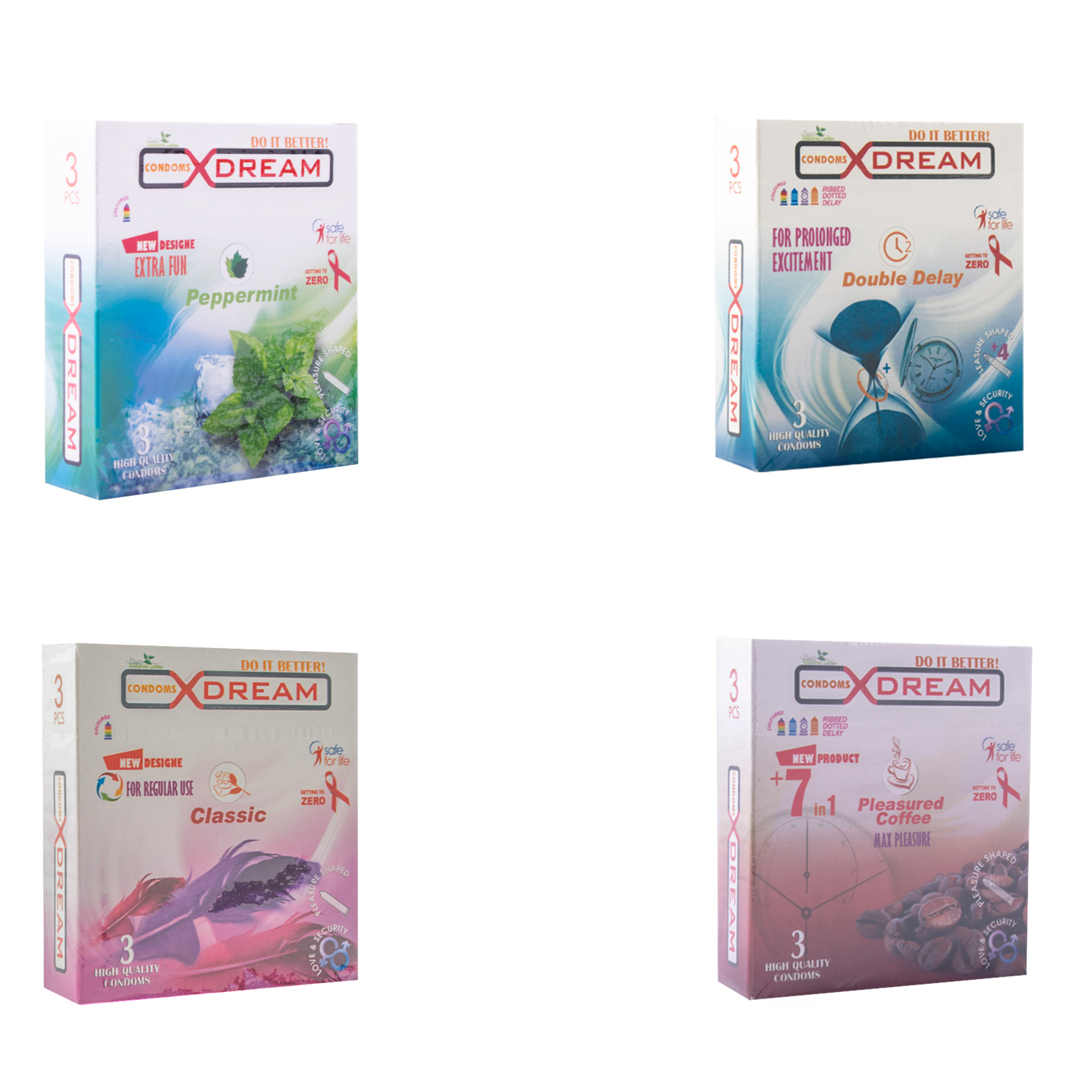 کاندوم ایکس دریم مدل 384001 مجموعه 4 عددی