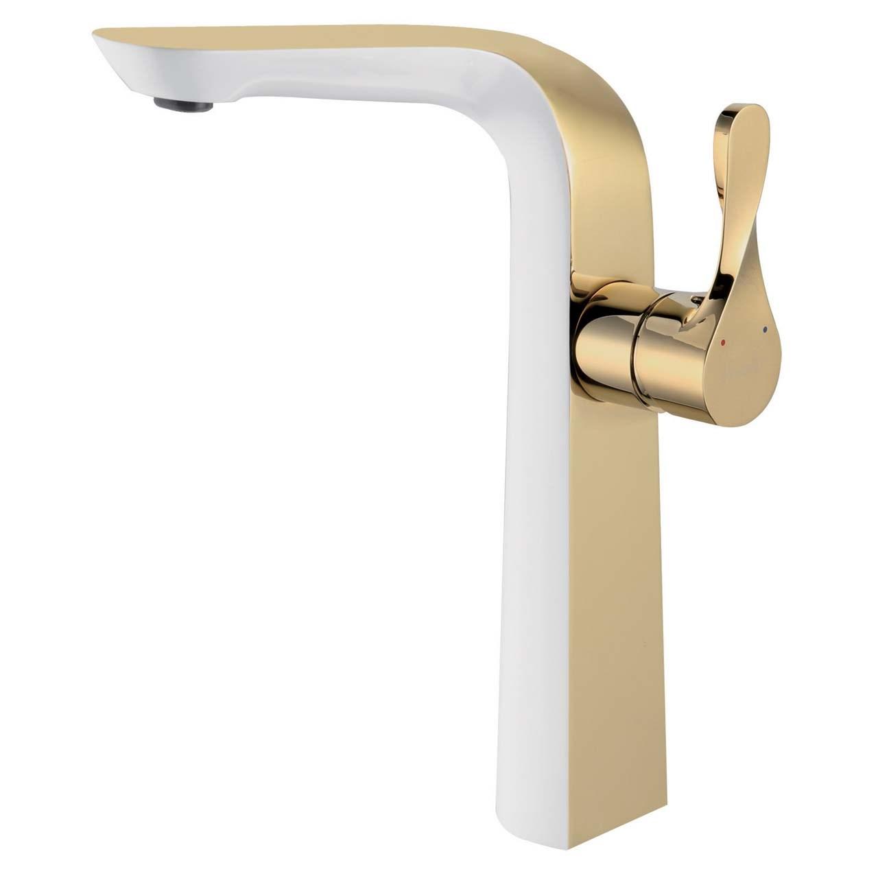 شیر روشویی پایه بلند الپس مدل ALPS طلایی سفید