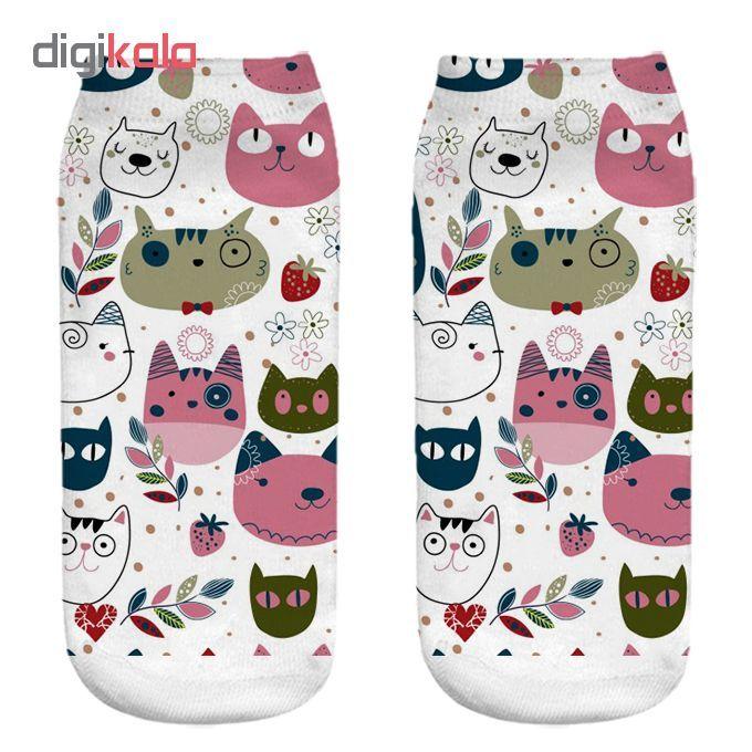 جوراب زنانه طرح گربه کد CH1065 main 1 1