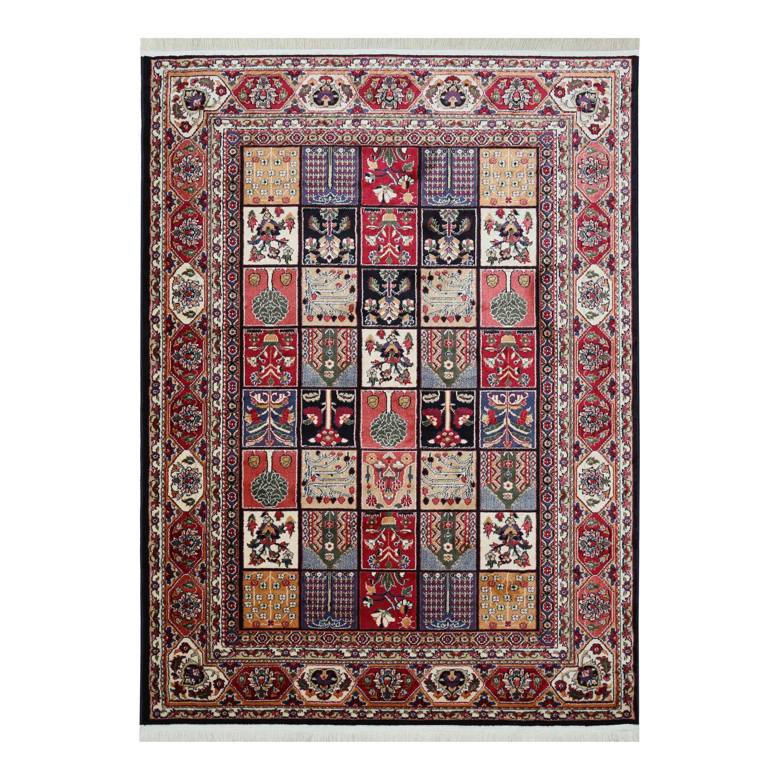 فرش ماشینی دنیای فرش طرح النا زمینه سرمه ای
