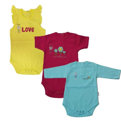 بادی نوزادی دخترانه وان بای وان کد 1-104 مجموعه سه عددی