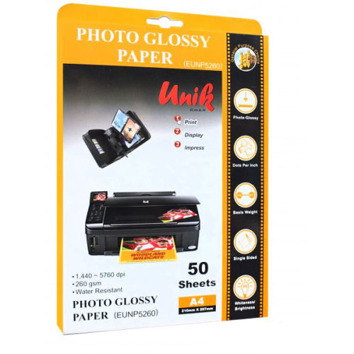 کاغذ چاپ عکس فتوگلاسه یونیک مدل EUNP5260 سایز A4 بسته 50 عددی
