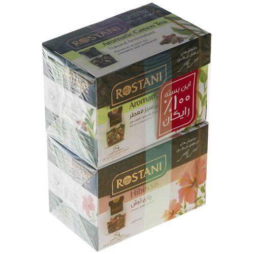 دمنوش چای ترش به همراه چای سبز رستنی بسته 16 عددی
