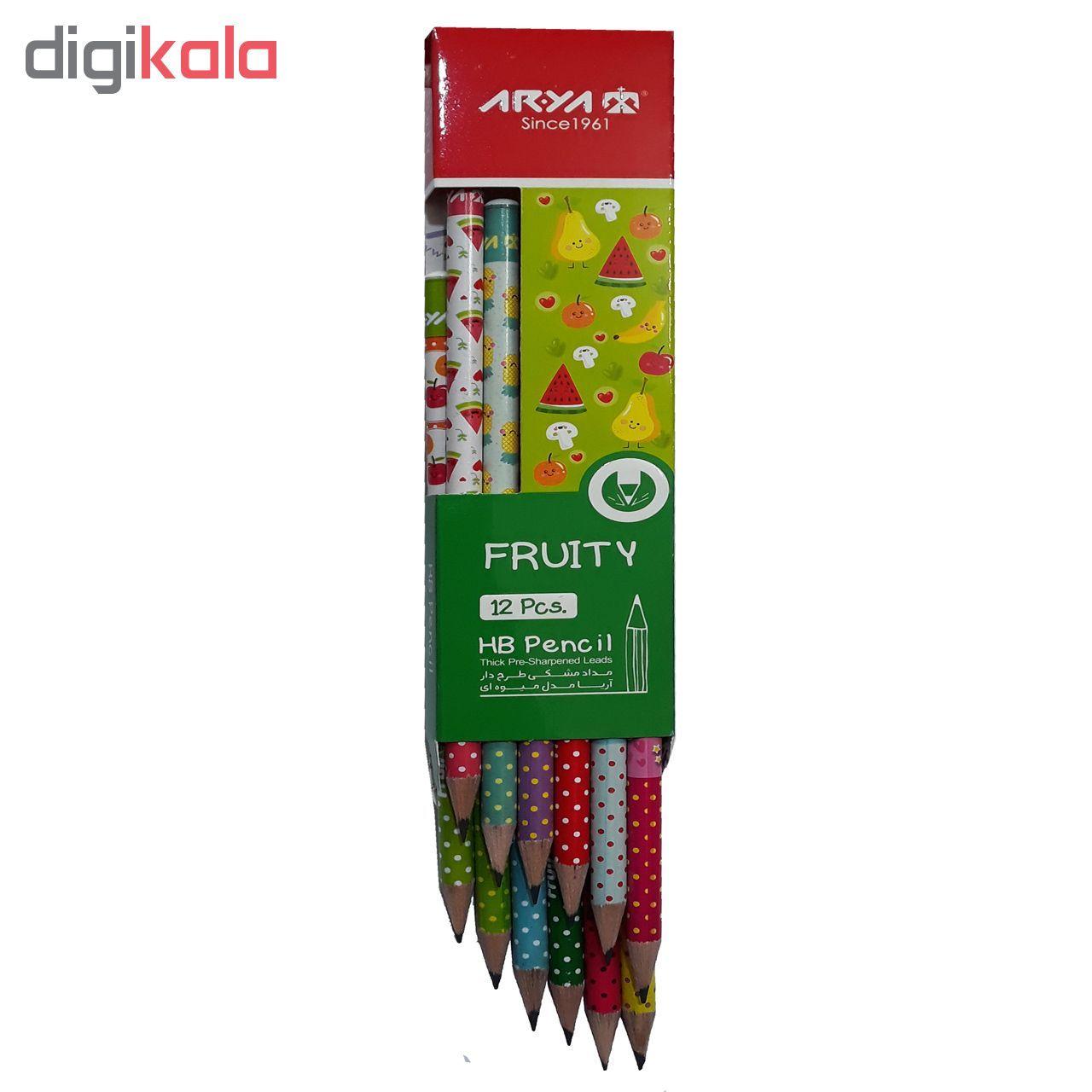 مداد مشکی آریا مدل FRUITY کد A3 بسته 12 عددی main 1 2