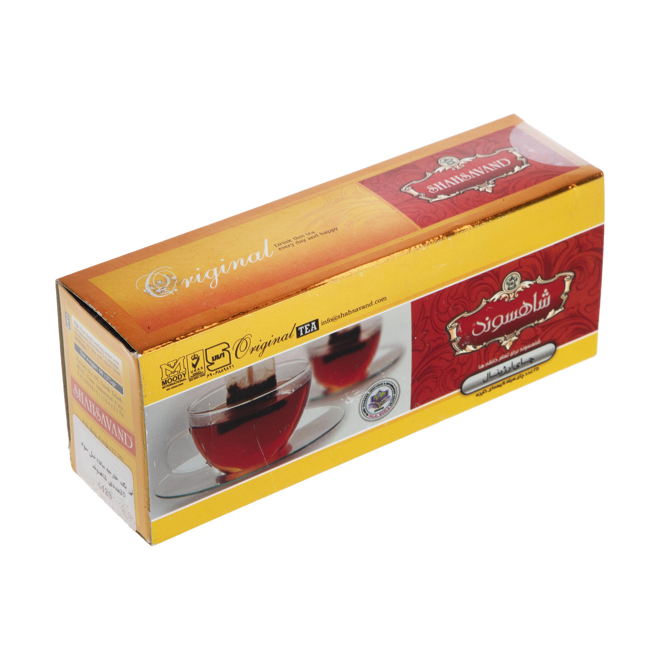 چای کیسه ای اوریجینال شاهسوند بسته 25 عددی