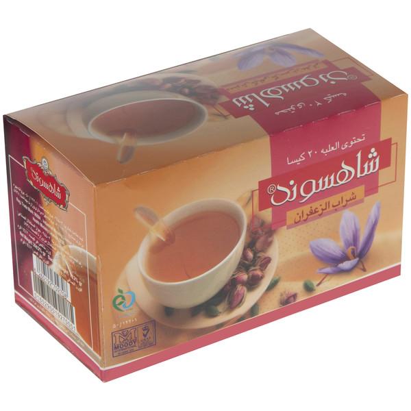 چای کیسه ای زعفرانی پوشش دار شاهسوند بسته 20 عددی